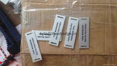 aluminum Rattan chair label, rattan furniture name tag
