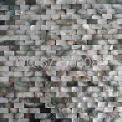 黑蝶貝無縫密拼牆面磚玄關隔斷背景牆馬賽克裝飾板