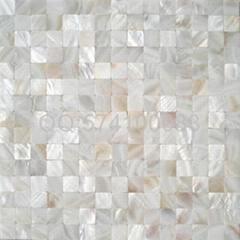 六角形增白淡水白贝壳马赛克卫生间墙贴