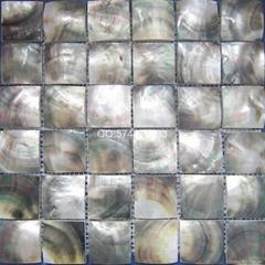 經典復古黑蝶貝大顆粒貝殼馬賽克50*50mm櫥櫃裝飾