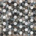 Hexagonal shellmosaic for backsplash