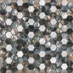 六角形六边形珍珠母贝贝壳马赛克黑白混拼