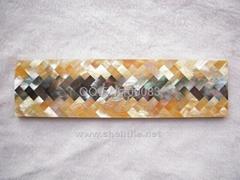 人字形贝壳马赛克瓷砖腰线墙面线条波导线装饰酒柜包柱子