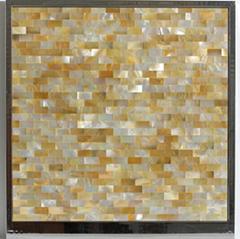 印尼黃蝶貝工字長方形馬賽克密拼背景牆