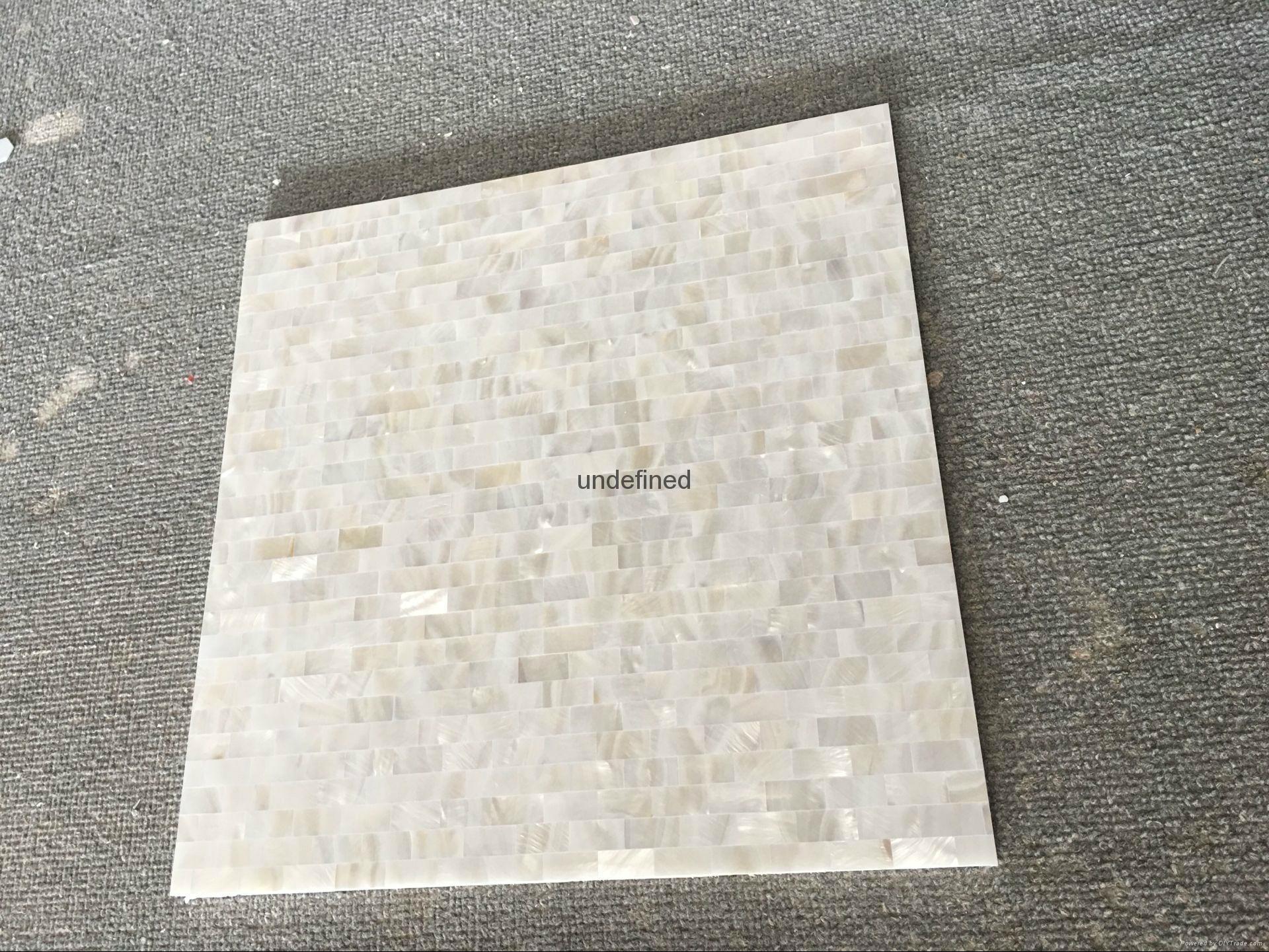 白色珍珠貝母貝殼馬賽克長方形工字拼酒櫃貼 4
