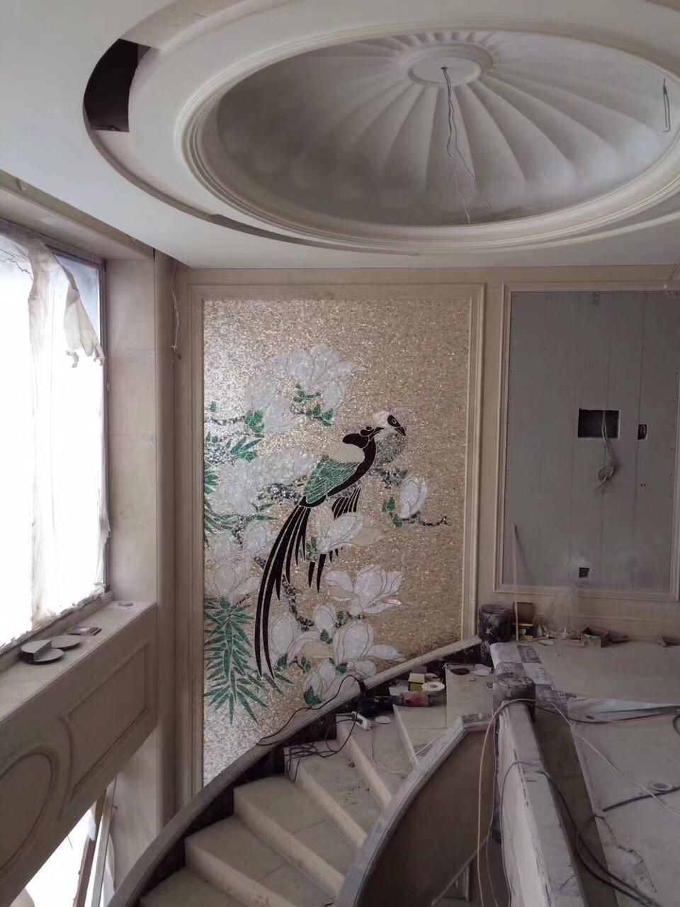 高端定制复古欧式手工雕刻贝壳装饰画贝壳马赛克拼花 2