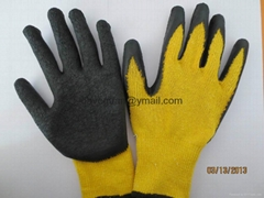 work gloves 2''s golden-yellow poly-cotton with latex palm coating