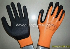 Latex coated gloves with