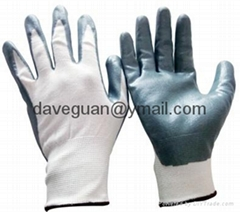 13G polyester liner nitrile coated work gloves