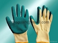 5's Poly-cotton gloves latex palm coated