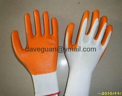 Work gloves nylon liner nitrile coated