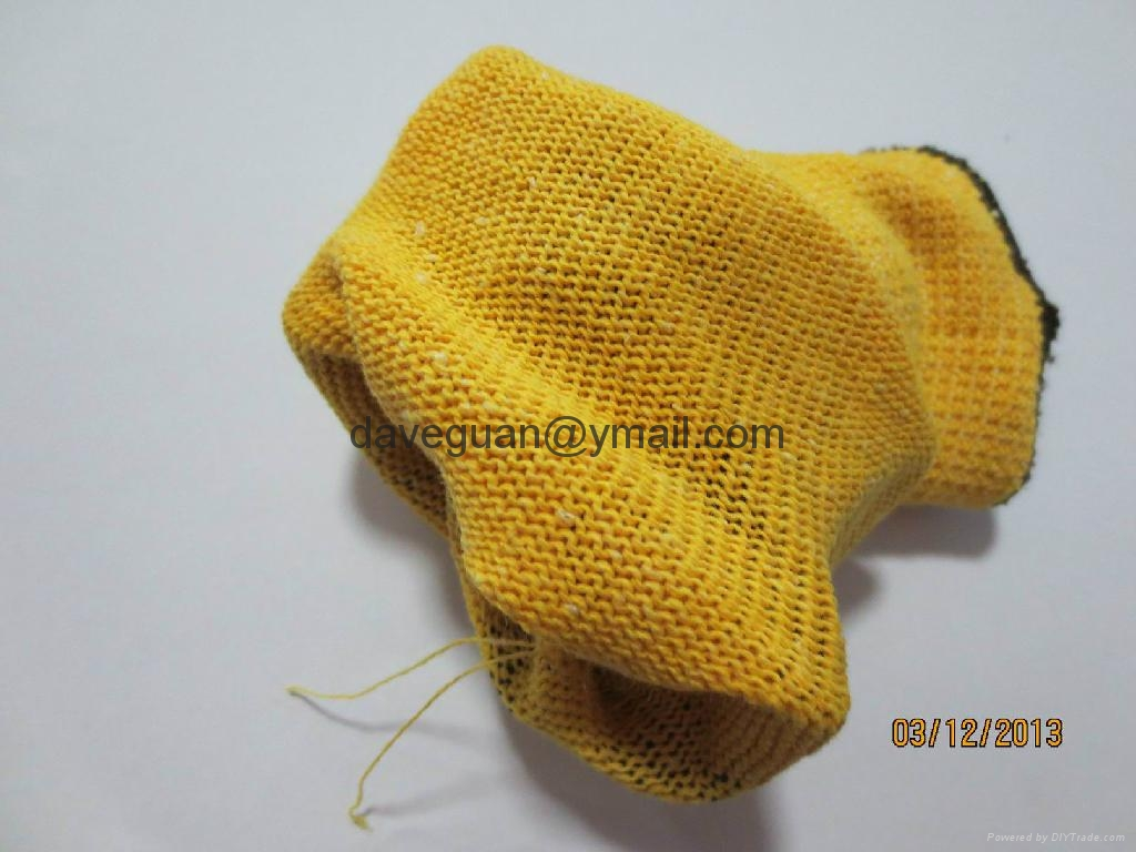 work gloves 2''s golden-yellow poly-cotton with latex palm coating 2