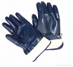 Blue nitirle gloves with safety cuff