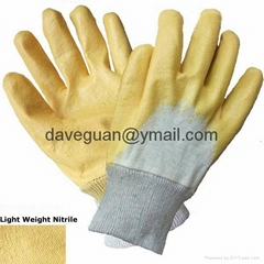 Cotton interlock gloves with nitrile half coating
