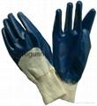 Cotton interlock gloves with nitrile
