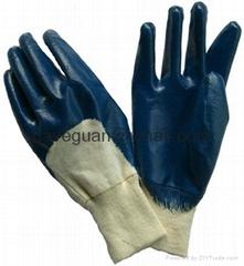 Cotton interlock gloves with nitrile half coating