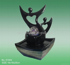 "11"" Table Polyresin Marble Sculpture Cup Indoor Water Fountain"