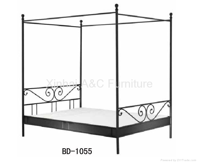 modern black powder coated metal bed with mosquito net bd 1055 china manufacturer bedroom. Black Bedroom Furniture Sets. Home Design Ideas