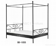 Modern Black Powder Coated Metal Bed with Mosquito Net