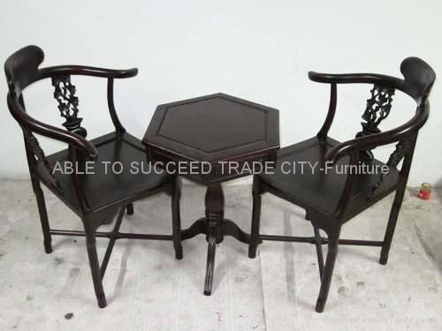 Rosewood Table With 2 Corner Chairs Set 1 ...