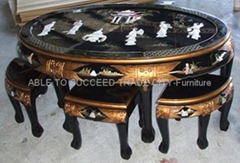 Mother of pearl inlaid oval coffee table set