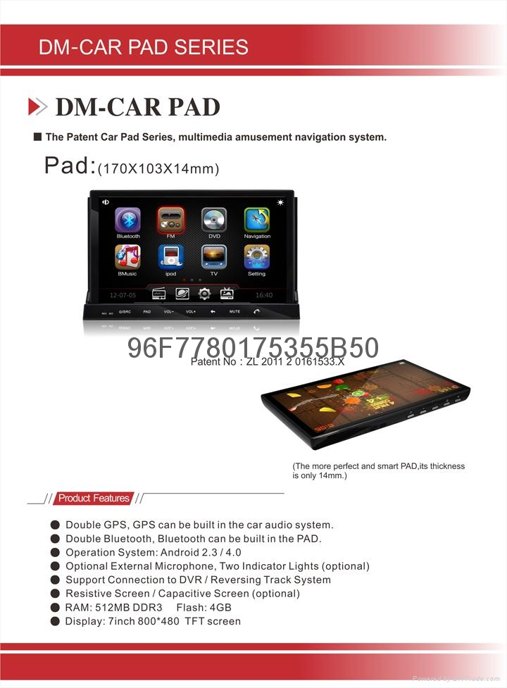 2 Din GPS Navigation Support RDS system Android 4.0 Universal Car Audio DM7835C 4