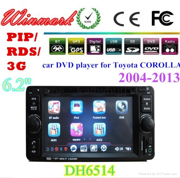 6.2inch Touch Screen Car DVD Player for Toyota Corolla in Dash DH6514   4