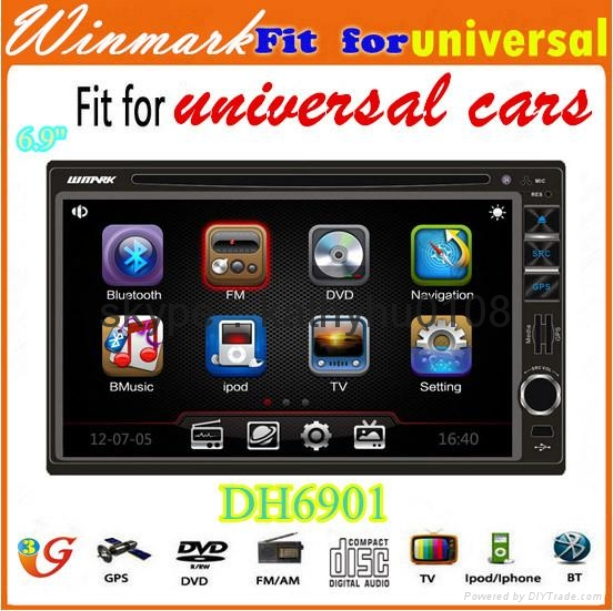 universal double din car dvd with gps bt ipod fm/am 3g etc DH6901 2