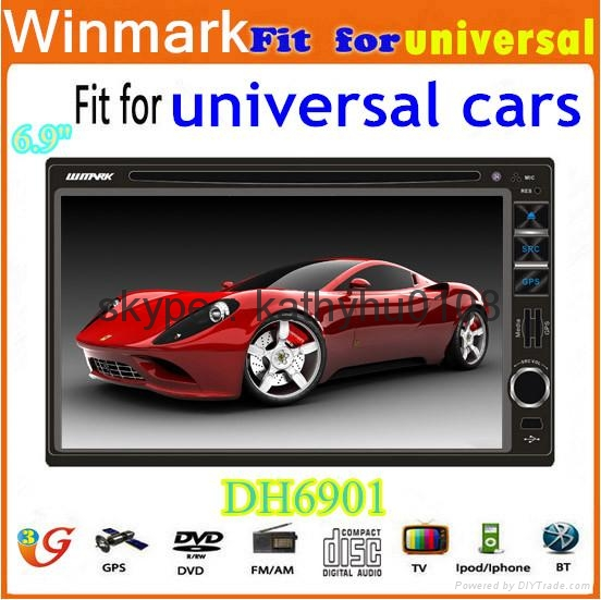 universal double din car dvd with gps bt ipod fm/am 3g etc DH6901 5