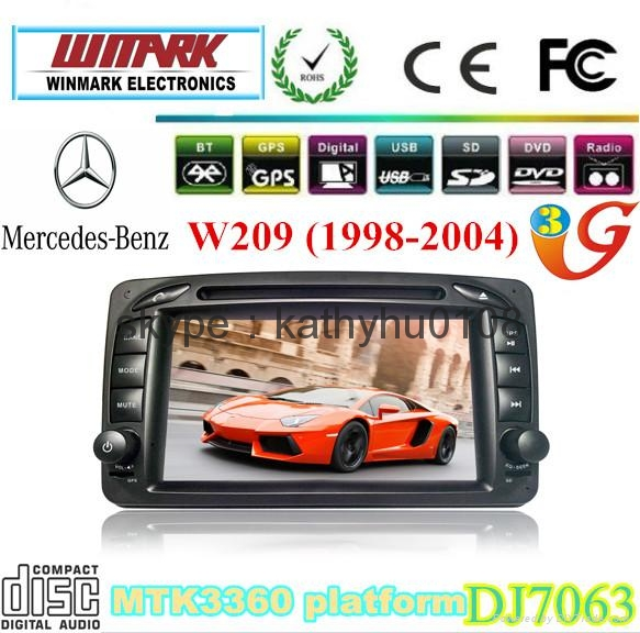 DJ7063 touch screen 2 din 7inch car dvd player for mercedes benz W209 2