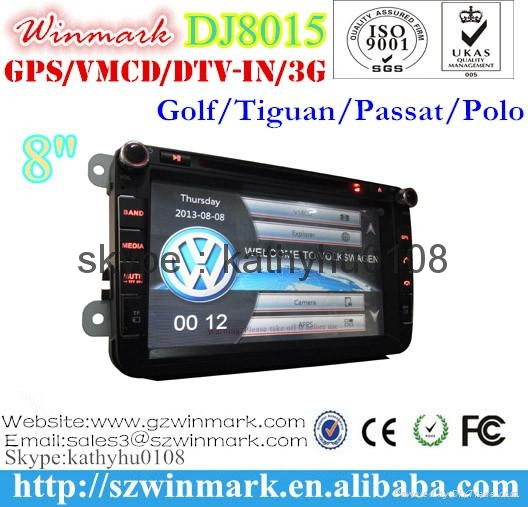 "8""HD touch screen 2din car gps for VW/SEAT/SKODA with MTK3360 and 800MHZ CPU 3"