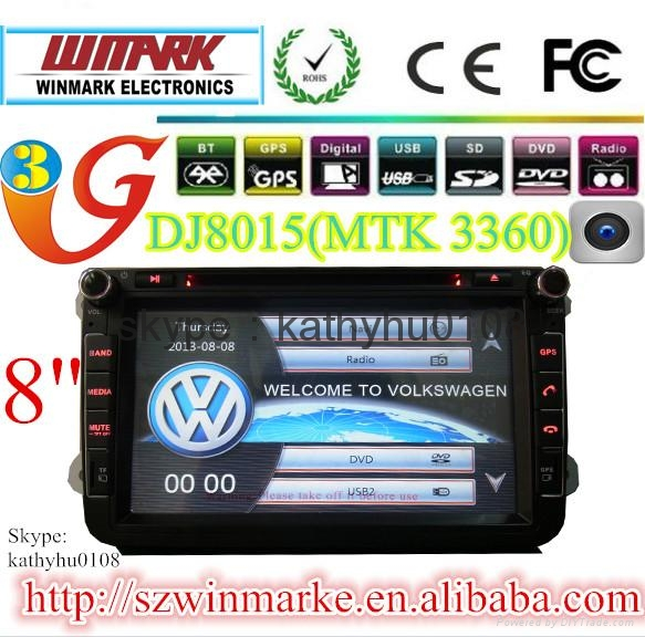 "8""HD touch screen 2din car gps for VW/SEAT/SKODA with MTK3360 and 800MHZ CPU 5"