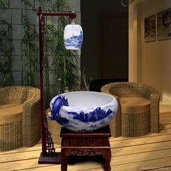 北京陶瓷噴水過濾魚缸批發