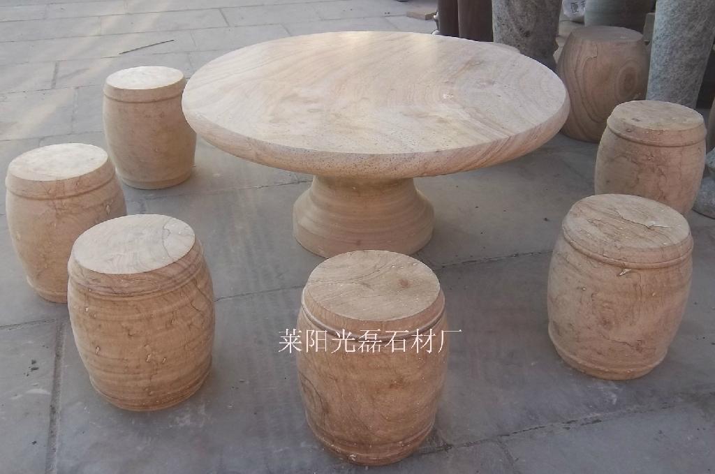 黃木紋圓桌椅 1