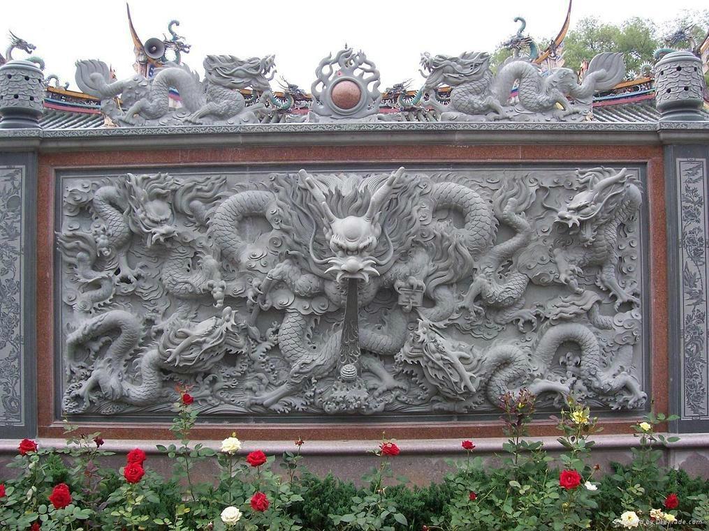 石雕九龙壁龙柱 2