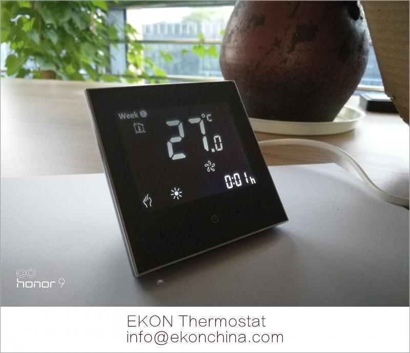 Negative black screen white backlit 2pipe FCU room thermostat-TF-702 series 3