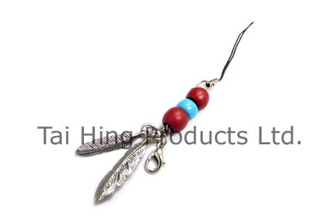 Cell phone charm - Leather lace with beads 2