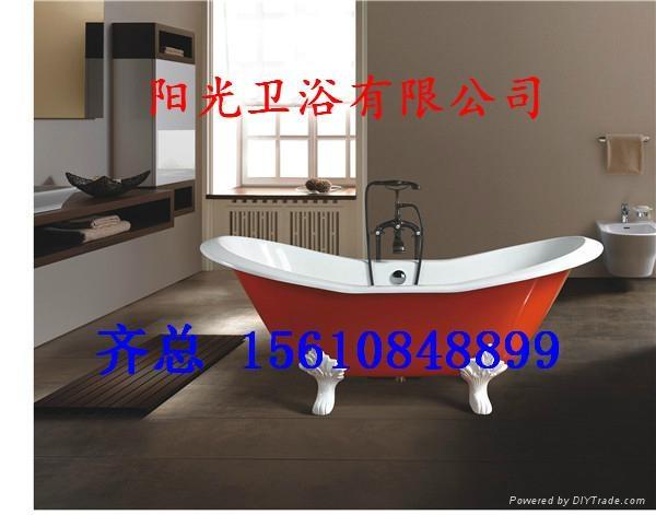 Double slipper freestanding cast iron bathtub 1