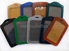 Leather ID Badge Card Pocket Holder