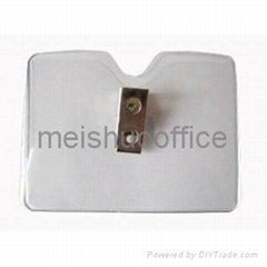Horizontal Clear Vinyl Name Card Holder with Badge Clip