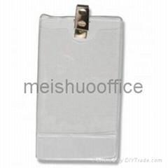 Vertical PVC name badge holder with clips-Top Load