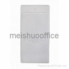 Custom Logo Embossed Vertical Clear Vinyl Badge Holder
