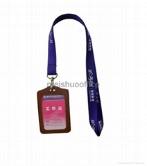 Lanyards with leather name card holder