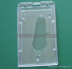 Vertical Hard Plastic Multi Card ID Badge Holder Hold 3 Cards