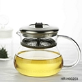 Glass Teapot With Stainless Steel  Filter & Cover
