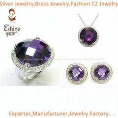 2015 High Quality Brass CZ Jewelry Set with big round amethyst CZ stones Wedding