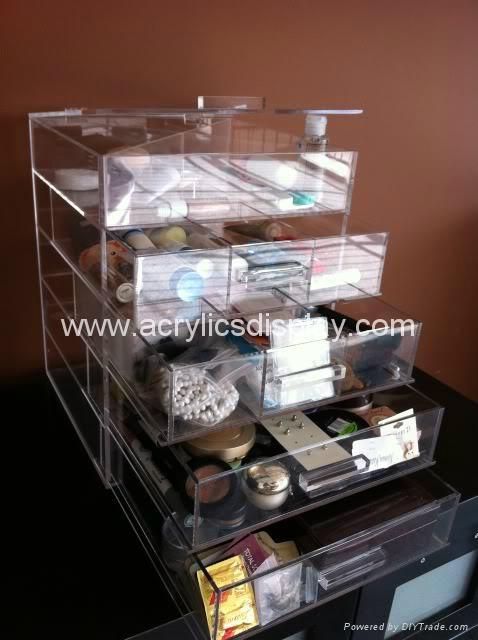 acrylic cosmetic organizer in display racks