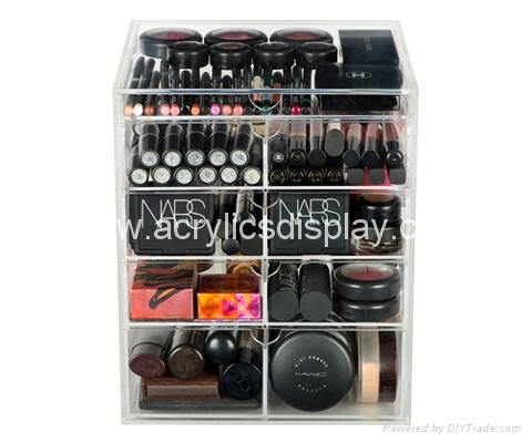acrylic makeup organizer in display rack