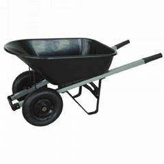 Garden 90L PP tray wheelbarrow with two rubber pneumatic wheel