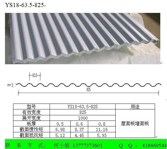彩鋼波浪板YS18-63.5-825 1